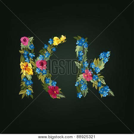 K letter. Flower capital alphabet. Colorful font. Uppercase and Lowercase. Vector illustration.