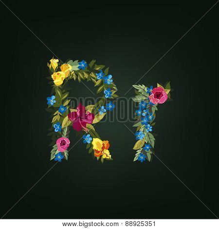 R letter. Flower capital alphabet. Colorful font. Uppercase and Lowercase. Vector illustration.