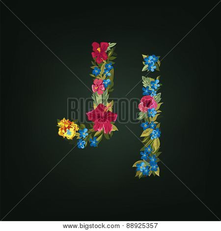 J letter. Flower capital alphabet. Colorful font. Uppercase and Lowercase. Vector illustration.