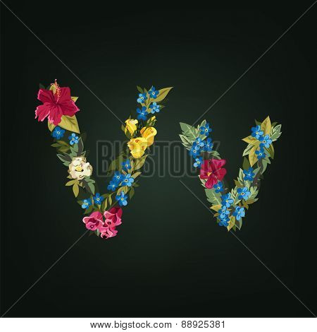 V letter. Flower capital alphabet. Colorful font. Uppercase and Lowercase. Vector illustration.