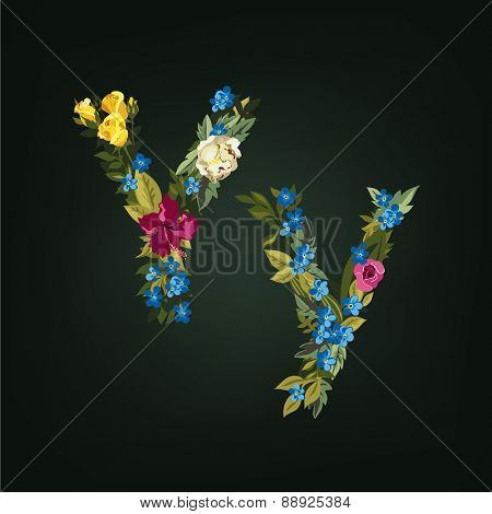 Y letter. Flower capital alphabet. Colorful font. Uppercase and Lowercase. Vector illustration.