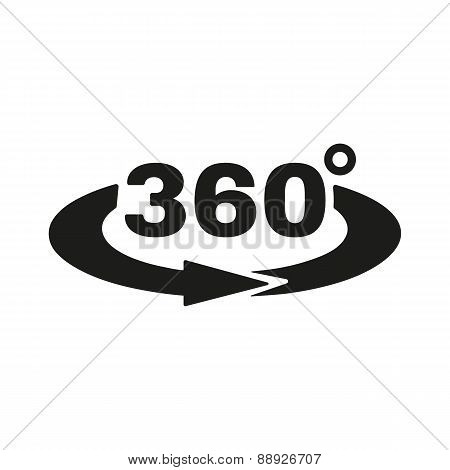 The Angle 360 Degrees Icon. Rotation Symbol. Flat