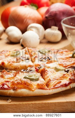 Pizza with cheese ham