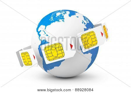 Mobile Telecommunication Concept. Macro View Of Sim Cards Around Earth Globe