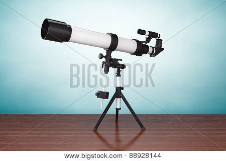Old Style Photo. Silver Telescope On Tripod