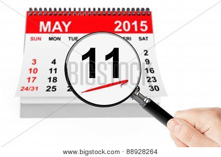 11 May 2015 Calendar With Magnifier