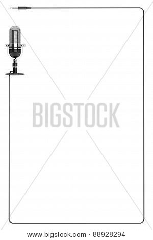 Vintage Silver Microphone As Frame With Space For Text