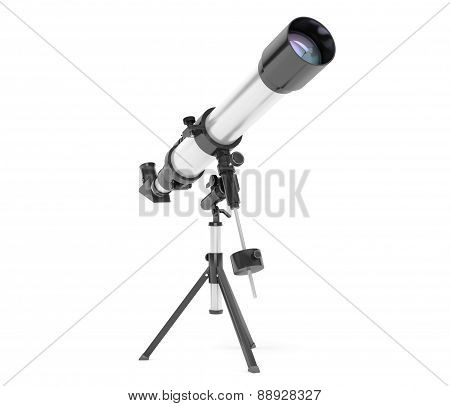 Silver Telescope On Tripod
