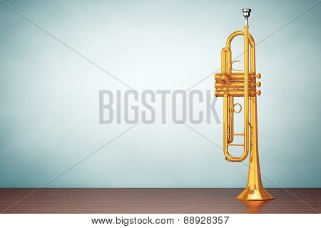 Old Style Photo. Polished Brass Trumpet