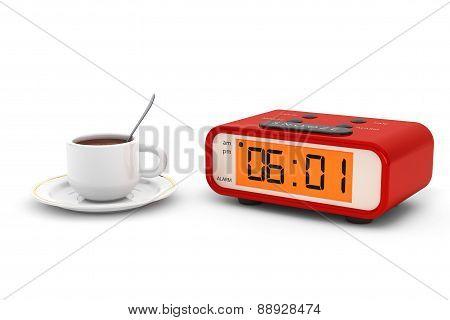 Modern Digital Alarm Clock With Coffee Cup