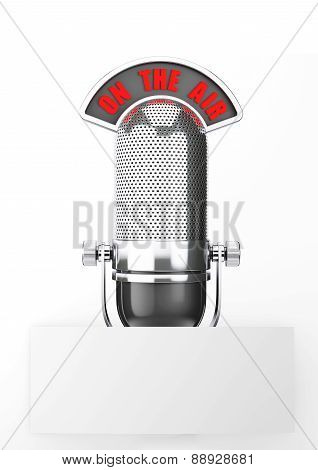 Vintage Silver Microphone With Blank Paper