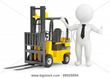 3D Person With Forklift Truck