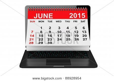 June 2015 Calendar Over Laptop Screen
