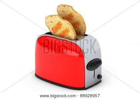 Kitchen Appliance. Toast Popping Out Of Vintage Red Toaster