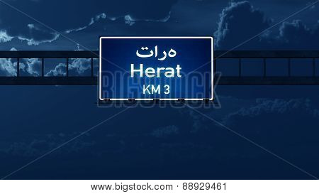 Herat Afghanistan Highway Road Sign At Night