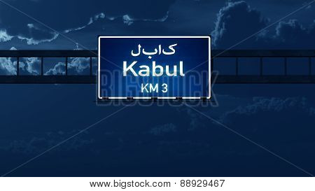Kabul Afghanistan Highway Road Sign At Night