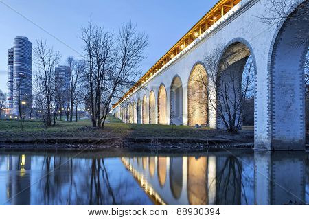 Rostokino Aqueduct, Reflecting In Yauza River