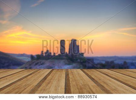 Corfe Castle Winter Sunrise Pre-dawn Colourburst With Wooden Planks Floor