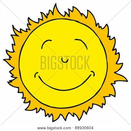 Smiling Sun. Isolated on white background