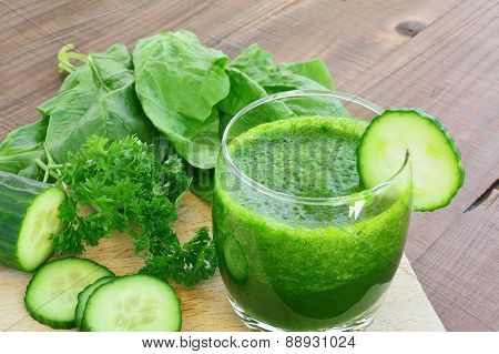 Green Vegetable Juice And Fresh Vegetables