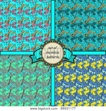 Set Of Seamless Patterns With Dragonfly-2