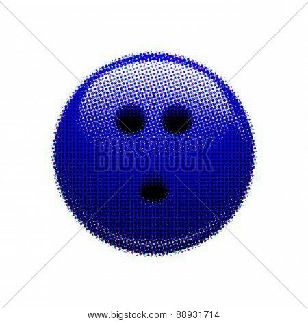 Halftone blue bowling ball
