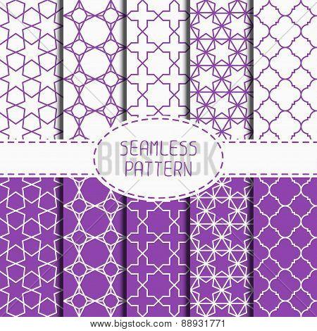 Set of geometric lattice seamless arabic pattern. Islamic oriental style. Wrapping paper. Scrapbook