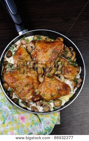 Part Of The Chicken In A Creamy Sauce With Mushrooms