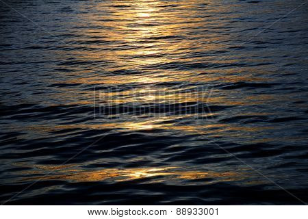 Holiday Background, Sunset Reflections On Calm Sea Waves