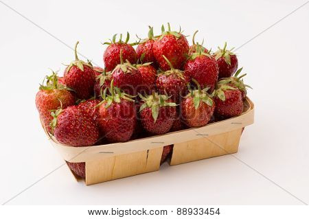 Strawberry In Wooden Box