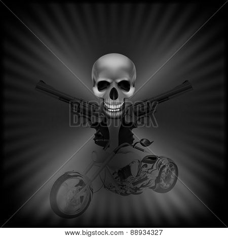 Background Biker Skull And Revolvers