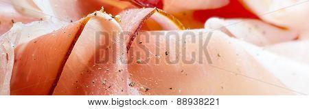 Close Up Of Ham As  Header For A Food Website