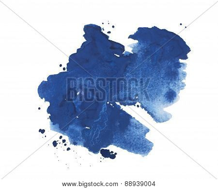 Abstract watercolor aquarelle hand drawn colorful blue art paint splatter stain on white background.