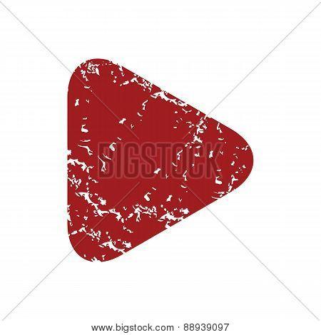 Red grunge play logo