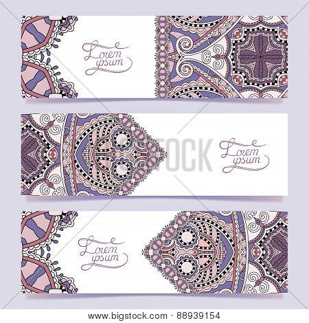 Set of three horizontal banners with decorative ornamental flowe