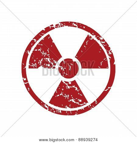 Red grunge nuclear logo