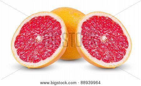 Fresh Grapefruit with juicy slices isolated on white background