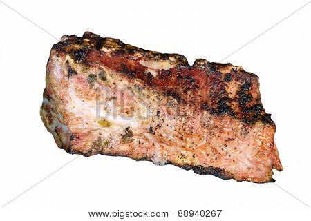 Hot Bbq Grilled Pork Ribs Isolated On White