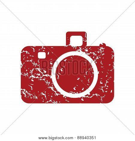 Red grunge camera logo