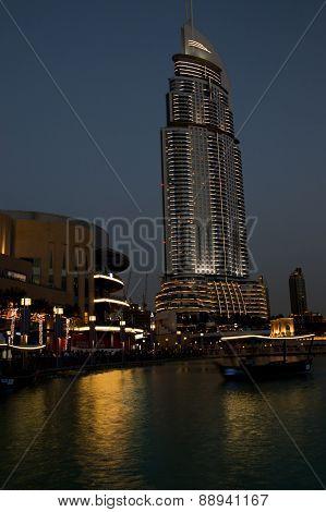 Dubai, Uae - April : Night View Down Town Of Dubai City, On April , 2015, Dubai, Uae. In The City Of