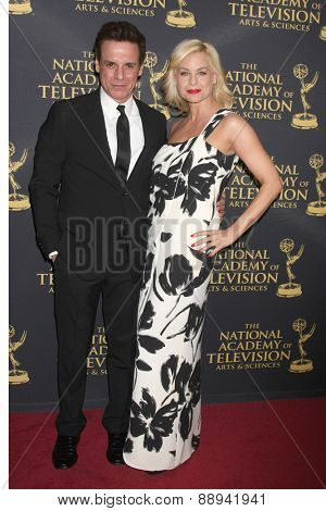 LOS ANGELES - FEB 24:  Christian Le Blanc, Jessica Collins at the Daytime Emmy Creative Arts Awards 2015 at the Universal Hilton Hotel on April 24, 2015 in Los Angeles, CA