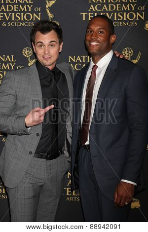 LOS ANGELES - FEB 24:  Darin Brooks, Lawrence Saint-Victor at the Daytime Emmy Creative Arts Awards 2015 at the Universal Hilton Hotel on April 24, 2015 in Los Angeles, CA