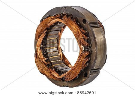 Stator Of The Electric Motor, Isolated On White Background
