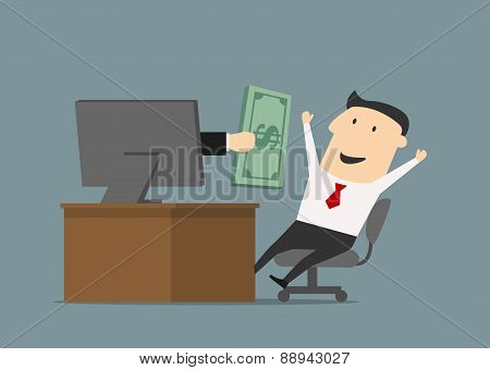 Businessman receiving money online through computer screen