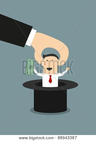 Boss takes out of a hat happy businessman