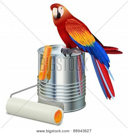 Vector Paint Can With Roller Brush And Parrot