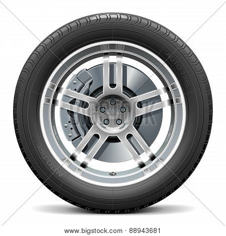 Vector Car Wheel With Disk Brake