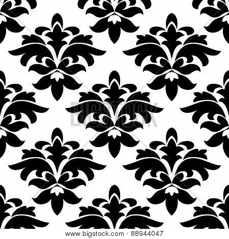 Vintage floral black and white arabesque seamless pattern