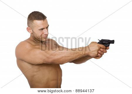 Muscular Caucasian Man With Gun.