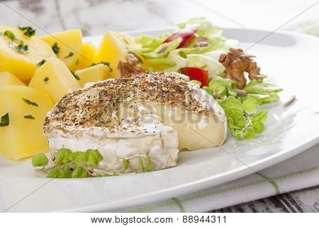 Baked Melted Camembert Cheese.